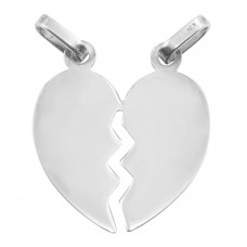 Sterling Silver Rhodium Plated Broken Heart Pendant 24.3mm - HRT03