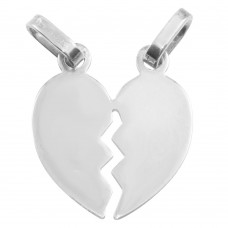Sterling Silver Rhodium Plated Broken Heart Pendant 20mm - HRT04