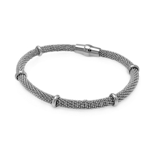 -Closeout- Wholesale Sterling Silver 925 Rhodium Plated Silver Bars Beaded Italian Bracelet - ITB00077RH