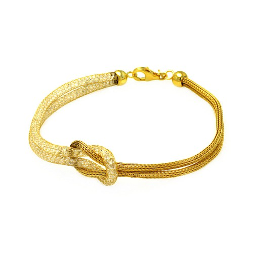 -Closeout- Wholesale Sterling Silver 925 Gold Plated Knot Center Strand Clear CZ Italian Bracelet - ITB00123GP