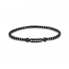 Wholesale Sterling Silver 925 Black Rhodium Diamond Cut Bead Italian Bracelet with CZ Bar - ITB00159BLK