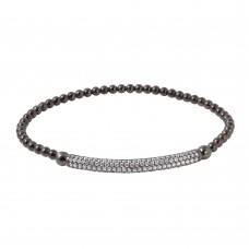 Wholesale Sterling Silver 925 Black Rhodium Plated CZ Bar Beaded Italian Bracelet - ITB00194BLK