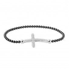 Wholesale Sterling Silver 925 Black Rhodium Plated Beaded Italian Bracelet with CZ Encrusted Cross - ITB00195BLK