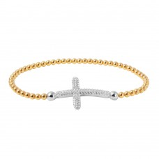 Wholesale Sterling Silver 925 Gold Plated Beaded Italian Bracelet with CZ Encrusted Cross - ITB00195GP