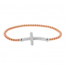 Wholesale Sterling Silver 925 Rose Gold Plated Beaded Italian Bracelet with CZ Encrusted Cross - ITB00195RGP
