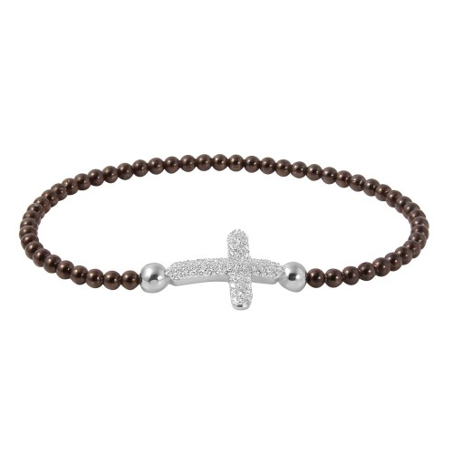 Wholesale Sterling Silver 925 Black Rhodium Plated Beaded Italian Bracelet With CZ Encrusted Cross - ITB00196BLK