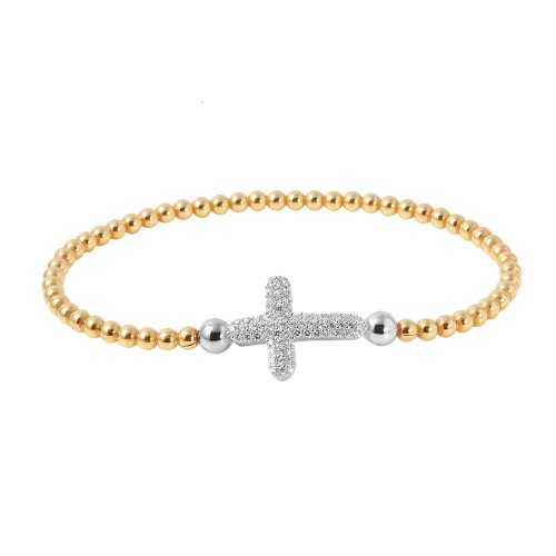 Wholesale Sterling Silver 925 Gold Plated Beaded Italian Bracelet with CZ Encrusted Cross - ITB00196GP/RH