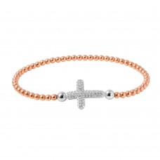 Wholesale Sterling Silver 925 Rose Gold Plated Beaded Italian Bracelet With CZ Encrusted Cross - ITB00196RGP/RH