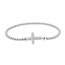 Wholesale Sterling Silver 925 Rhodium Plated Beaded Italian Bracelet with CZ Encrusted Cross - ITB00196RH