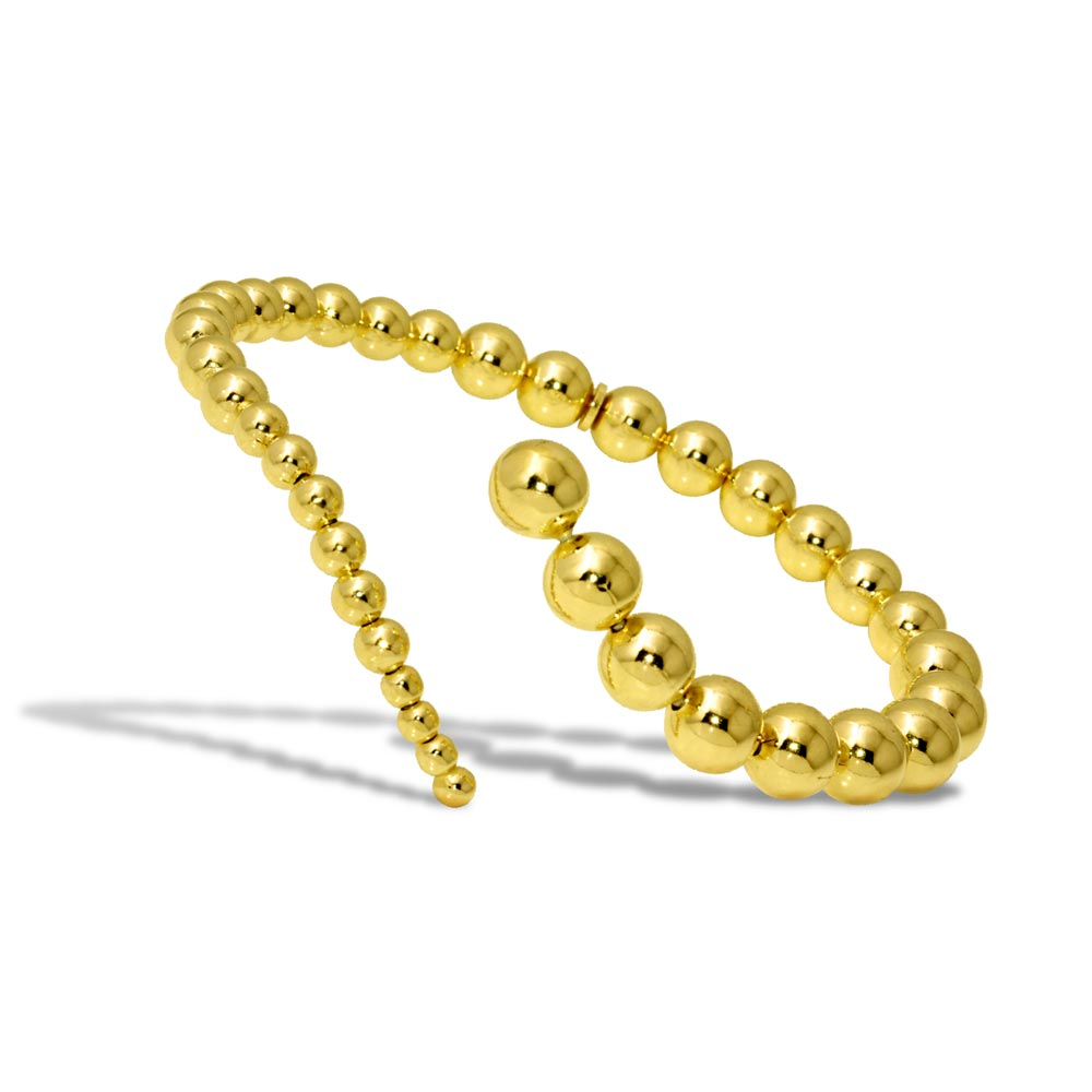 Wholesale Sterling Silver 925 Gold Plated Beaded Wavy Journey Cuff Bracelet - ITB00212GP