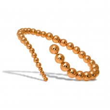 Wholesale Sterling Silver 925 Rose Gold Plated Beaded Wavy Journey Cuff Bracelet - ITB00212RGP