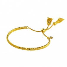 Wholesale Sterling Silver 925 Gold Plated DC Cuff Lariat Bracelet with Dangling Tassel - ITB00213GP
