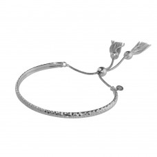 Wholesale Sterling Silver 925 Rhodium Plated DC Cuff Lariat Bracelet with Dangling Tassel - ITB00213RH