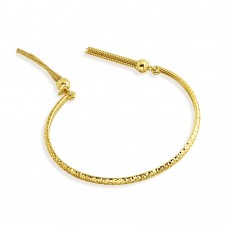 Wholesale Sterling Silver 925 Gold Plated DC Cuff Bracelet with Dangling Tassel - ITB00214GP