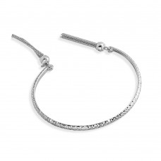 Wholesale Sterling Silver 925 Rhodium Plated DC Cuff Bracelet with Dangling Tassel - ITB00214RH