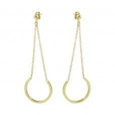 Wholesale Sterling Silver 925 Gold Plated Drop Hoop Earrings - ITE00085GP