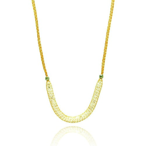 -Closeout- Wholesale Sterling Silver 925 Gold Plated Mesh Necklace Filled with CZ - ITN00024GP