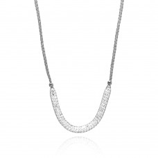 -Closeout- Wholesale Sterling Silver 925 Rhodium Plated Mesh Necklace Filled with CZ - ITN00024RH