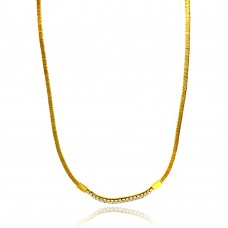 -Closeout- Wholesale Sterling Silver 925 Gold Plated Wired Omega Chain with CZ - ITN00049GP