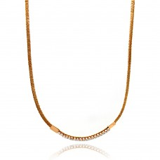-Closeout- Wholesale Sterling Silver 925 Rose Gold Plated Wired Omega Chain with CZ - ITN00049RGP