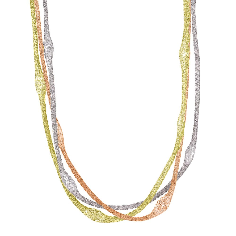 -Closeout- Wholesale Sterling Silver 925 Three Tone Triple Strand Mesh Necklace Filled with Marquise CZ - ITN00050TRI