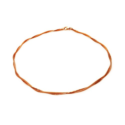 -Closeout- Wholesale Sterling Silver 925 Rose Gold Plated Inter Twisted Mesh and DC Round Snake Chains - ITN00054