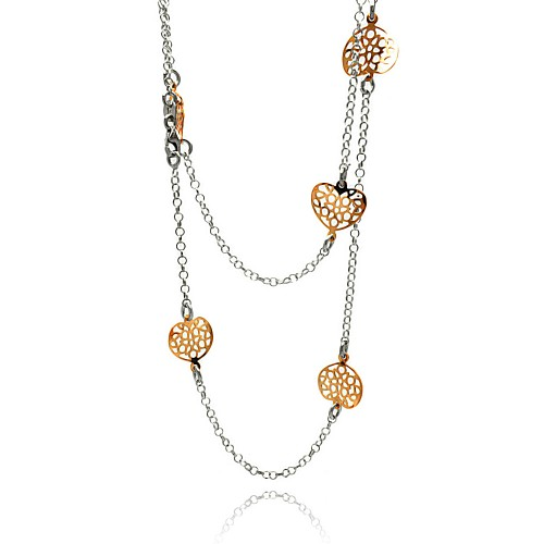 -Closeout- Wholesale Sterling Silver 925 Rose Gold and Rhodium Plated Curvy Holed Heart Long Necklace - ITN00072