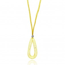 **Closeout** Wholesale Sterling Silver 925 Gold Plated Mesh Necklace and Dropped Mesh Teardrop with Filled CZ - ITN00077GP