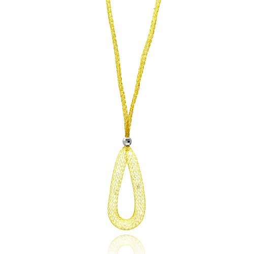 -Closeout- Wholesale Sterling Silver 925 Gold Plated Mesh Necklace and Dropped Mesh Teardrop with Filled CZ - ITN00077GP