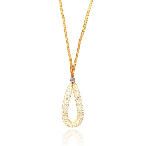 -Closeout- Wholesale Sterling Silver 925 Rose Gold Plated Mesh Necklace and Dropped Mesh Teardrop with Filled CZ - ITN00077RGP