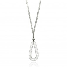 -Closeout- Wholesale Sterling Silver 925 Rhodium Plated Mesh Necklace and Dropped Mesh Teardrop with Filled CZ - ITN00077RH
