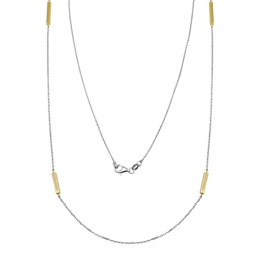 Wholesale Sterling Silver 925 Gold Plated Rectangle Bar Long Necklace - ITN00099RH/GP