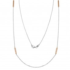 Wholesale Sterling Silver 925 Rose Gold Plated Rectangle Bar Long Necklace - ITN00099RH/RGP