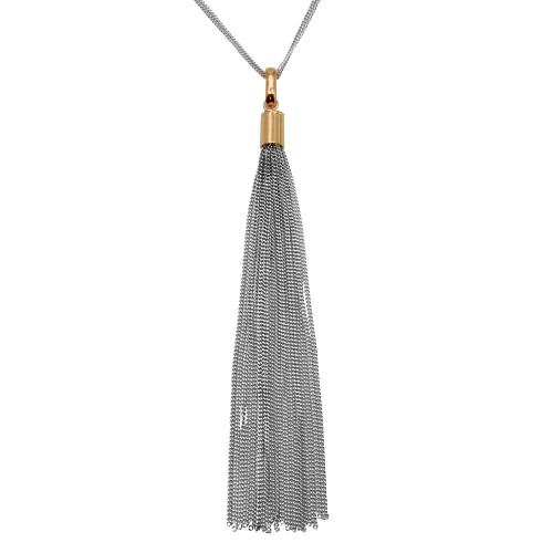 Wholesale Sterling Silver 925 Rose Gold Plated Double Strand Chain with Dangling Tassel - ITN00102RH-RGP