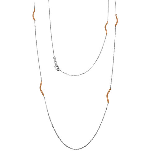 -Closeout Items- Wholesale Sterling Silver 925 Rose Gold Plated Curved Bar Long Necklace - ITN00103RH/RGP
