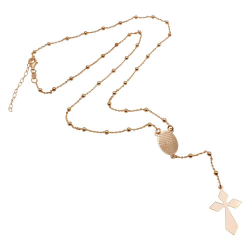 Wholesale Sterling Silver 925 Rose Gold Plated Engraved Prayer Rosary - ITN00112RGP