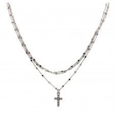 Wholesale Sterling Silver 925 Rhodium Plated Triple Chain Cross Necklace with Beads and CZ - ITN00122RH