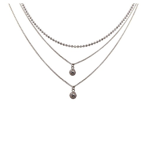 Wholesale Sterling Silver 925 Rhodium Plated Triple Chain with 2 Small CZ Pendants - ITN00124RH