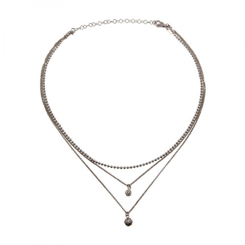 Wholesale Sterling Silver 925 Rhodium Plated Double Chain Disc Necklace with Beads and CZ - ITN00125RH