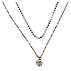 Wholesale Sterling Silver 925 Rhodium Plated Double Chain and Drop Heart Necklace - ITN00127RH