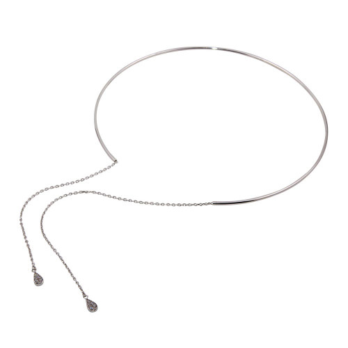 Wholesale Sterling Silver 925 Cuff Wire Necklace with Asymmetrical Tear Drops - ITN00130RH