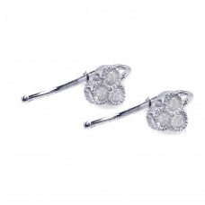 **Closeout** Wholesale Sterling Silver 925 Rhodium Plated Three Micro Pave Clear CZ Hook Earrings - ACE00004