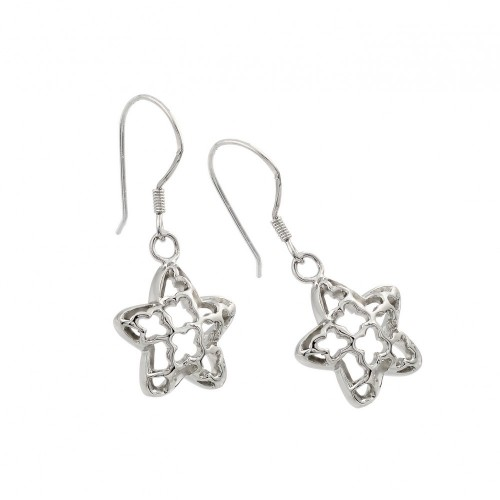 -Closeout- Wholesale Sterling Silver 925 Rhodium Plated Open Star Dangling Hook Earring - BGE00042