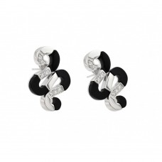 **Closeout** Wholesale Sterling Silver 925 Black and Silver Rhodium Plated Snake CZ Stud Earrings - BGE00083
