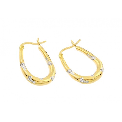 -Closeout- Wholesale Sterling Silver 925 Gold Plated Foot Print CZ Inlay Hoop Earrings BGE00120
