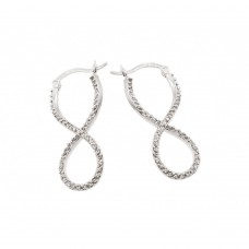 Sterling Silver Rhodioum Plated Number Eight Infinity CZ Hoop Earring - BGE00210