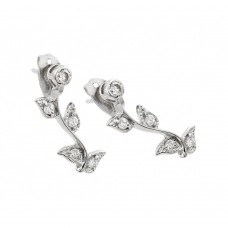 Sterling Silver Rhodioum Plated Rose CZ Inlay Stud Earring BGE00217