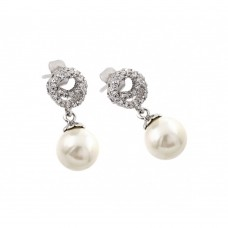 Wholesale Sterling Silver 925 Rhodium Plated CZ Dangling Pearl Stud Earrings - BGE00244