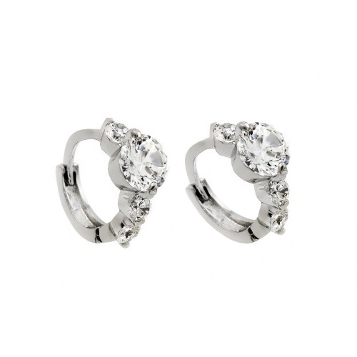 Wholesale Sterling Silver 925 Rhodium Plated Past Present Future CZ Huggie Earrings - BGE00264