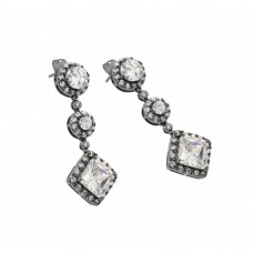 Wholesale Sterling Silver 925 Rhodium Plated Graduated Round Square CZ Stud Earrings BGE00279